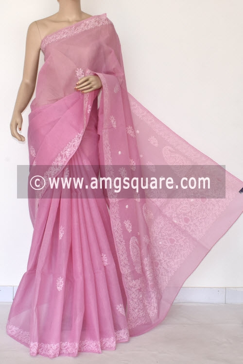 Onion Hand Embroidered Lucknowi Chikankari Saree (With Blouse - Cotton) 14524