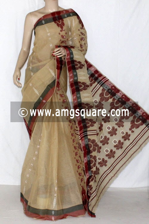Fawn Handwoven Bengali Tant Cotton Saree (Without Blouse) 14060