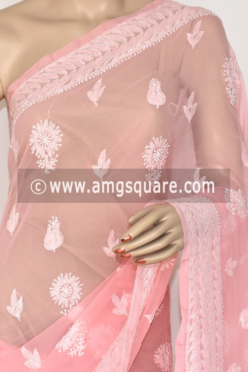 Peach Hand Embroidered Lucknowi Chikankari Saree (With Blouse - Georgette) Rich Pallu 14648