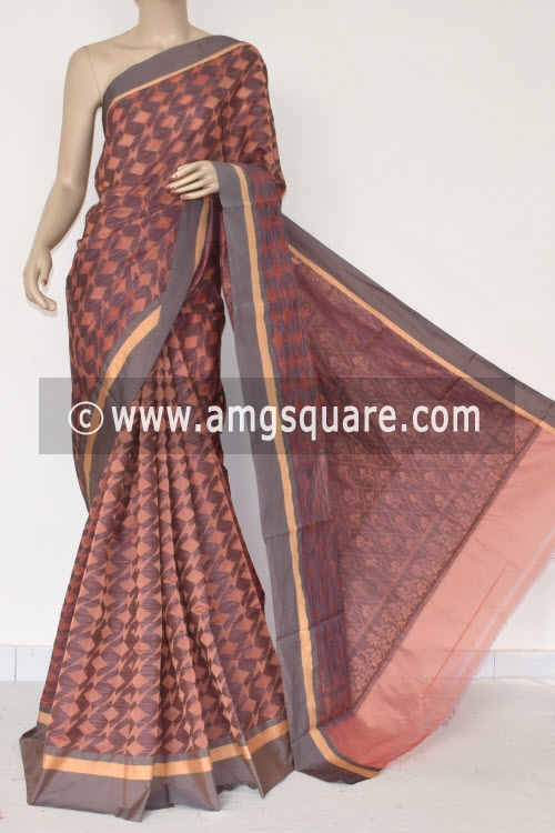 Peach Grey Handloom Banarasi Kora Saree (with Blouse) 16259