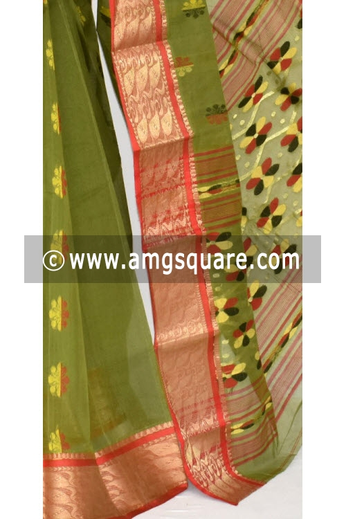 Menhdi Green Red Handwoven Bengal Tant Cotton Saree (Without Blouse) Zari Border 14109