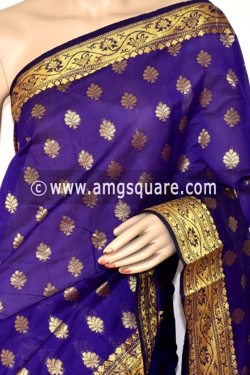 Purple Handloom Banarasi Kora Saree (with Blouse) Zari Border and Allover Booti 16253