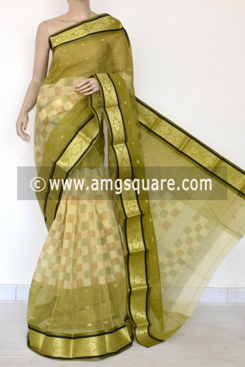 Menhdi Green Printed Handwoven Bengal Tant Cotton Saree (Without Blouse) Zari Border 17149