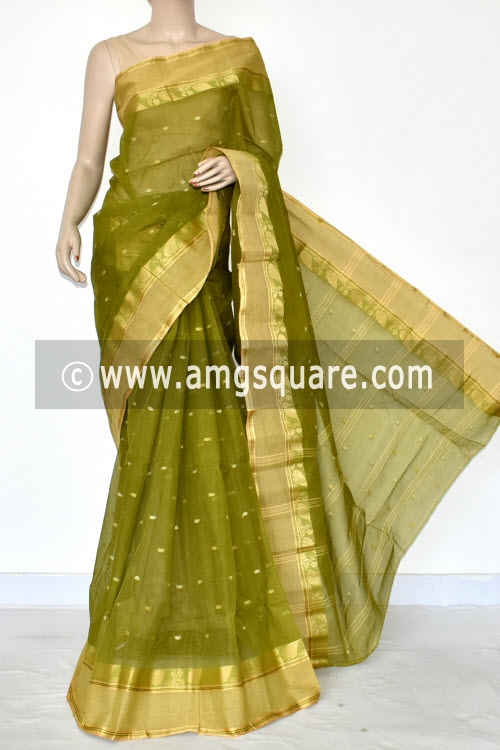 Menhdi Green Handwoven Bengal Tant Cotton Saree (Without Blouse) Allover Booti 17196