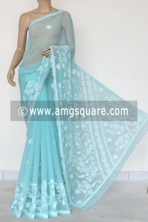 Sea Green Hand Embroidered Lucknowi Chikankari Saree (With Blouse - Georgette) 14610