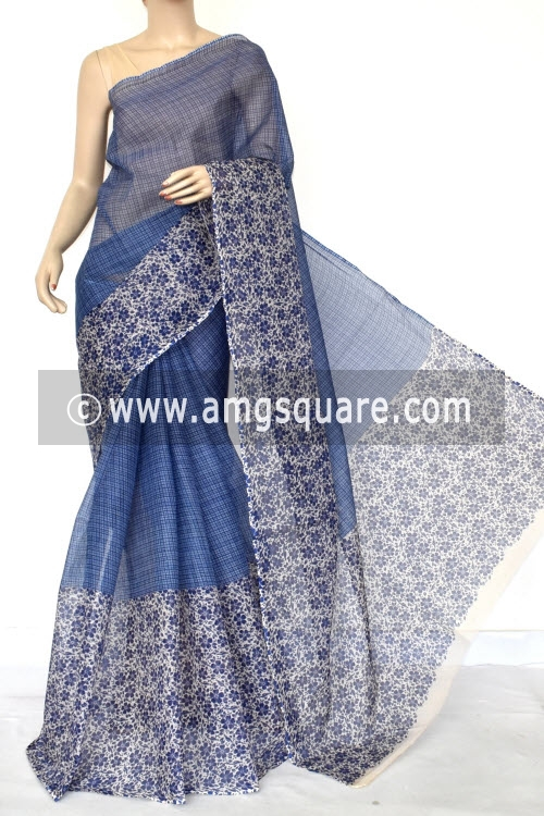 Blue Half-Half Premium JP Kota Doria Printed Cotton Saree (without Blouse) 15408