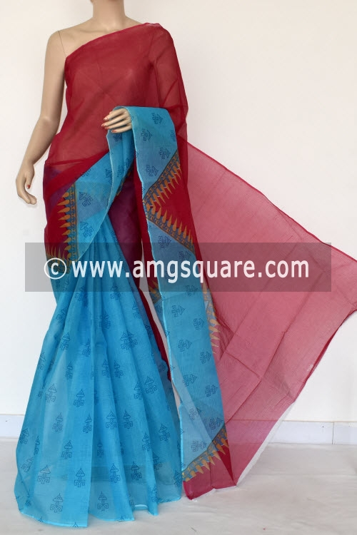 Pink Pherozi Blue Premium JP Kota Doria Printed Cotton Saree (without Blouse) 15393
