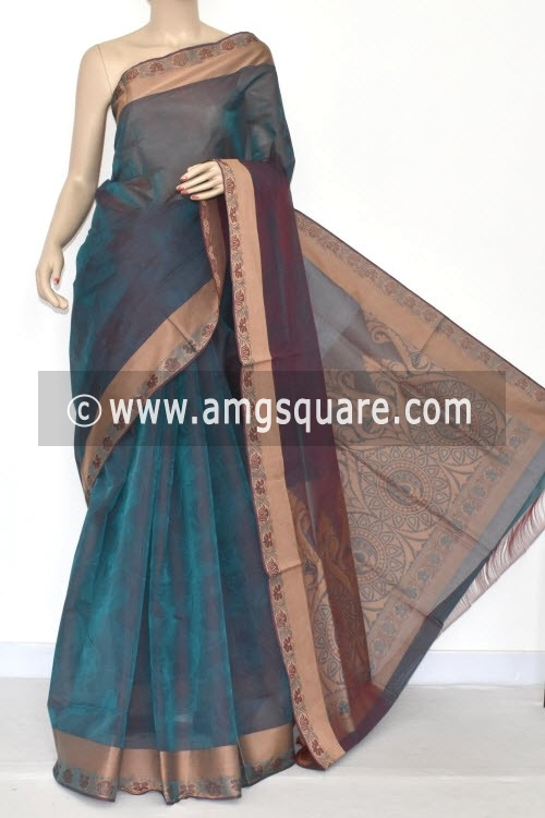 Peacock Blue Dhoop-Chhaon South Cotton Handloom Saree (With Blouse) 17078