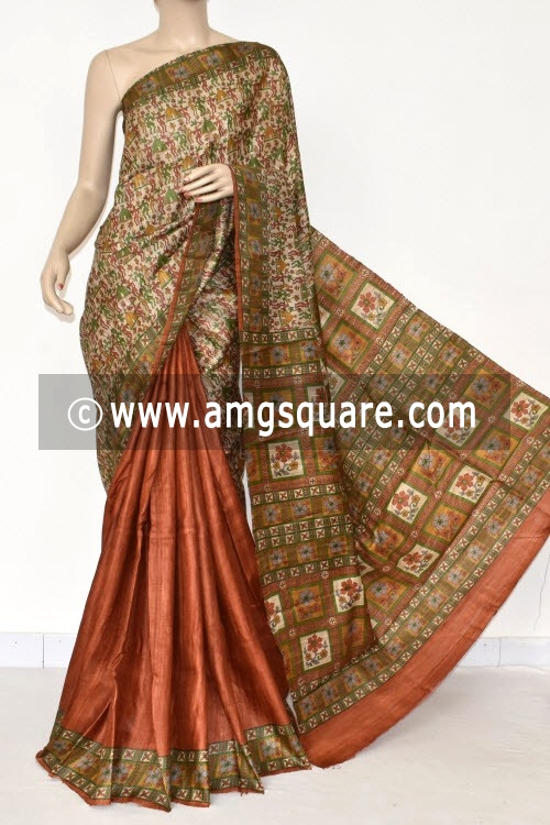Fawn Rust Handloom Ghicha Pure Silk Half-Half Saree (With Blouse) 17283