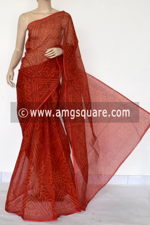 Red Chunri Print Premium JP Kota Doria Cotton Saree (without Blouse) 13537
