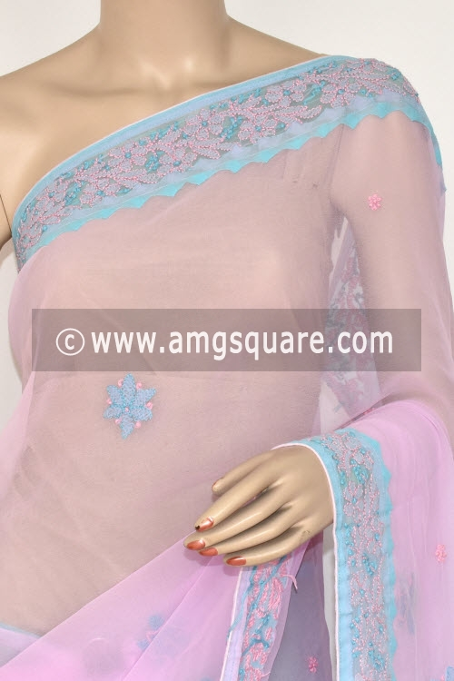 Pink Pherozi Blue Designer Hand Embroidered Lucknowi Chikankari Saree (With Contrast Blouse - Georgette) 14608