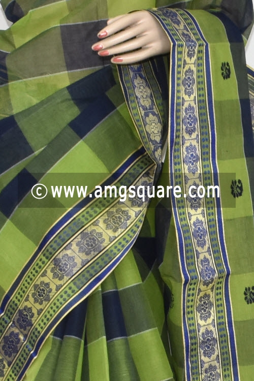 Menhdi Green Blue Pochampalli Handwoven Dhaniakhali Bengal Tant Cotton Saree (Without Blouse) 13928