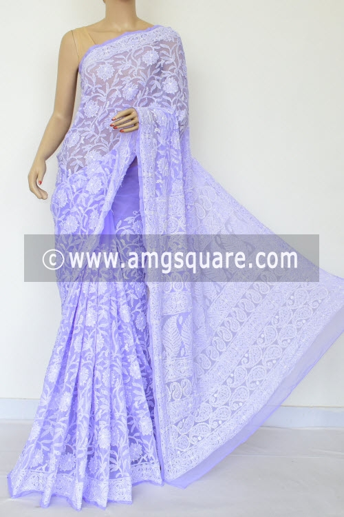 Lavander Allover Hand Embroidered Lucknowi Chikankari Saree (With Blouse - Georgette) 14875