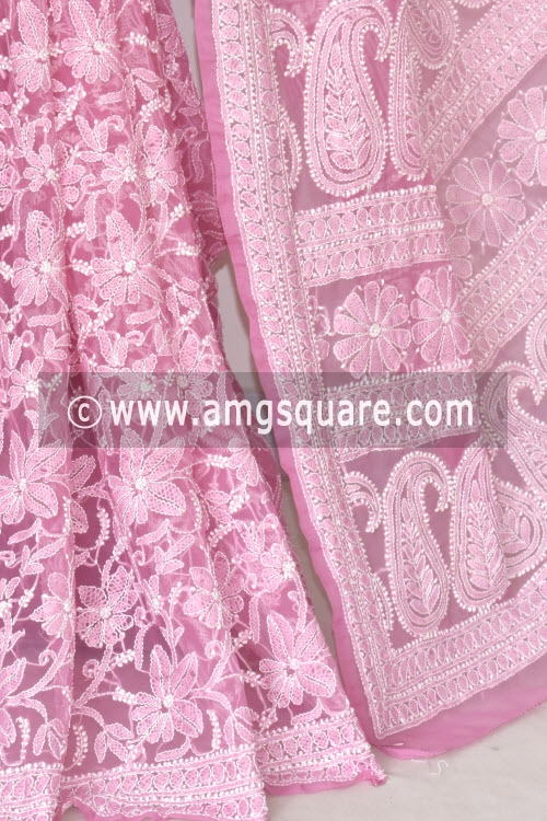 Onion Allover Hand Embroidered Lucknowi Chikankari Saree (With Blouse - Georgette) 14840