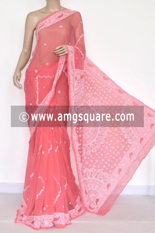 Peach Hand Embroidered Lucknowi Chikankari Saree (With Blouse - Georgette) 14456