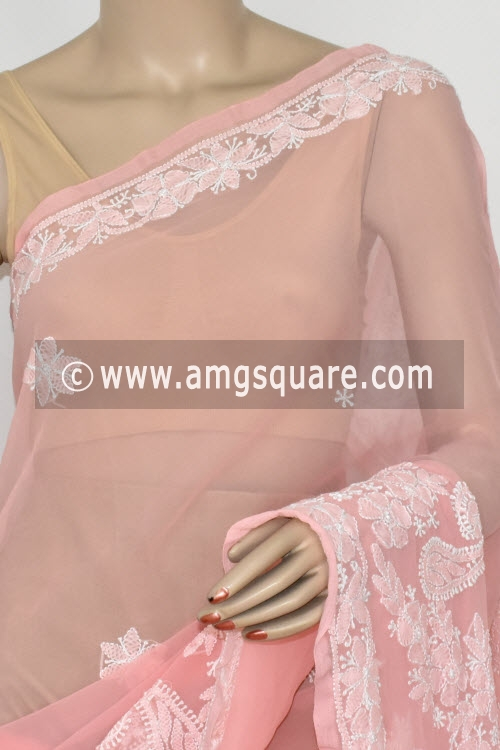 Light Peach Hand Embroidered Lucknowi Chikankari Saree (With Blouse - Georgette) 14609