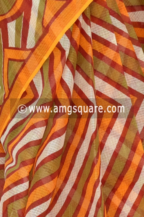 Orange Premium JP Kota Doria Printed Cotton Saree (without Blouse) 15343