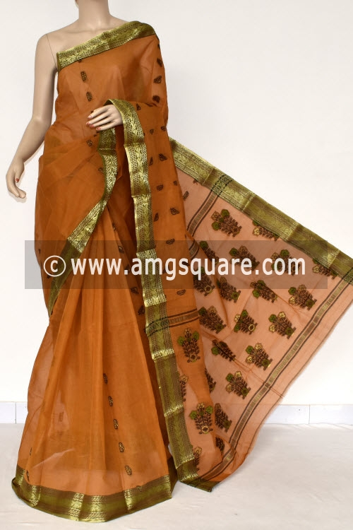 Mustared Handwoven Bengal Tant Cotton Saree (Without Blouse) Zari Border 17391