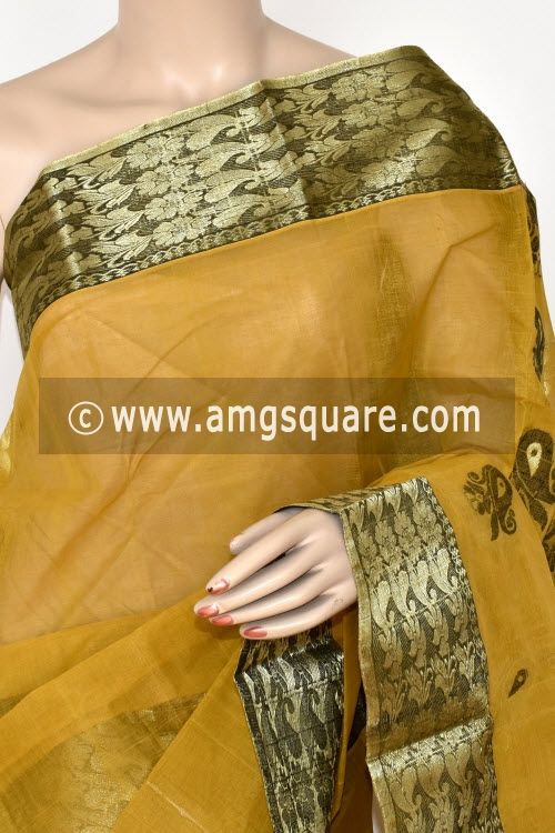 Mustared Yellow Handwoven Bengal Tant Cotton Saree (Without Blouse) 17415