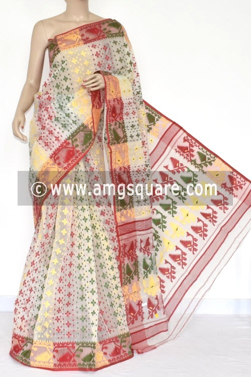 Off White Handwoven Bengali Tant Kora Cotton Jamdani Saree (Without Blouse) 17218