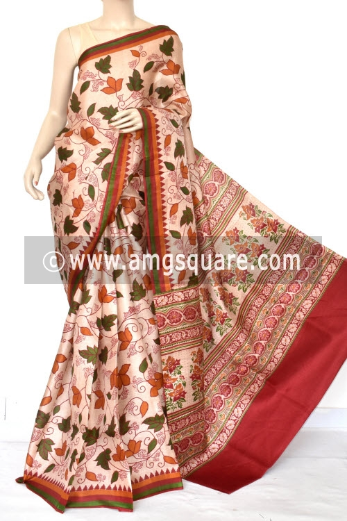 Maroon Tusser Art Silk Printed Saree (With Blouse) 13450