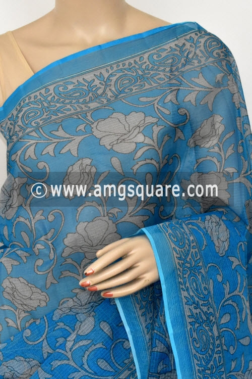 Pherozi Blue Grey Premium JP Kota Doria Printed Cotton Saree (without Blouse) 15416