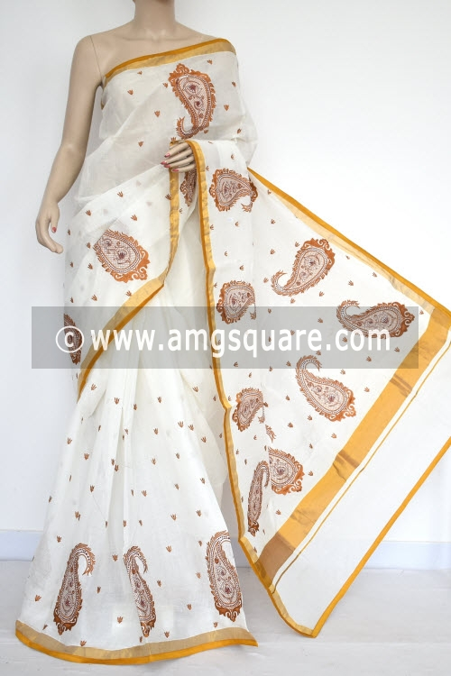Off-White Mustared Embroidered Kerala Cotton Handloom Saree (With Blouse) 13776