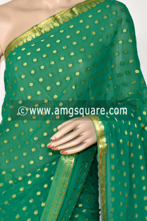 Green Handloom Semi-Chiffon Saree (with Blouse) Allover Zari Border and Booti 16205