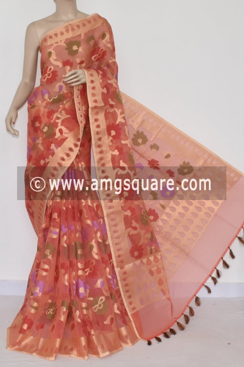 Peach Banarasi Kora Cot-Silk Handloom Saree (With Blouse) Allover Zari weaving 16123