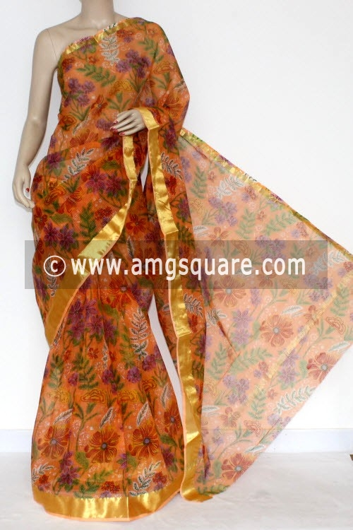 Peach JP Kota Doria Printed Cotton Saree (without Blouse) Zari Border 13579