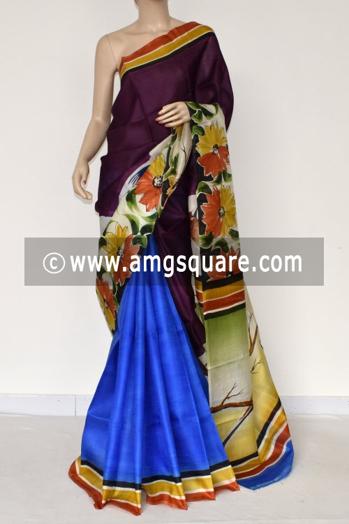 Pherozi Blue Move Handprinted Pure Silk Half-Half Saree (With Blouse) 17277