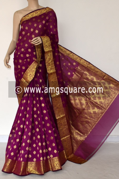 Magenta Handloom Banarasi Kora Saree (with Blouse) Zari Border and Allover Booti 16252