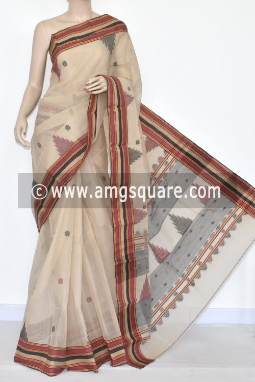 Fawn Handwoven Bengali Tant Cotton Saree (Without Blouse) Zari Border 17326