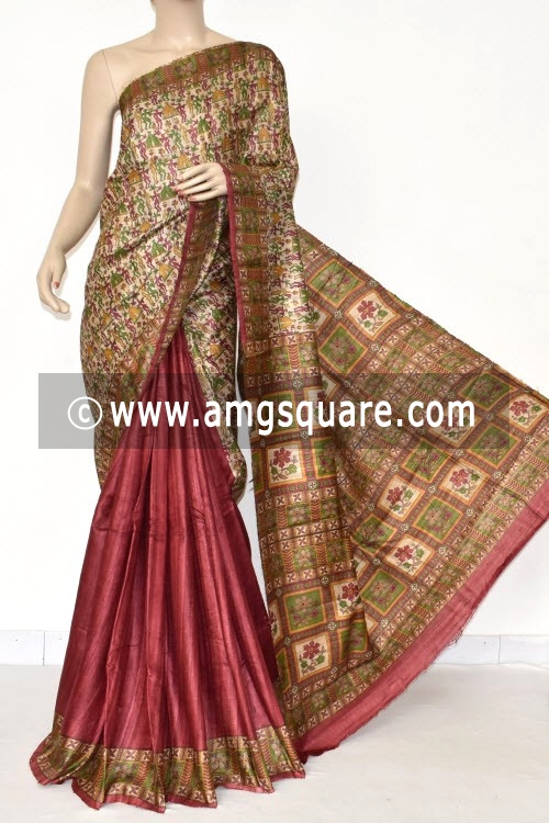 Fawn Maroon Handloom Ghicha Pure Silk Half-Half Saree (With Blouse) 17284