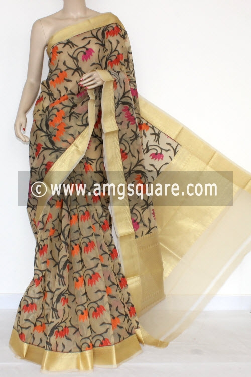 Faawn Banarasi Kora Cot-Silk Handloom Saree (With Blouse) 16146