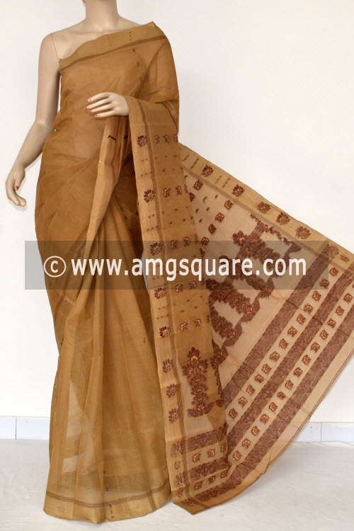 Fawn Handwoven Bengal Tant Cotton Saree (Without Blouse) 17393