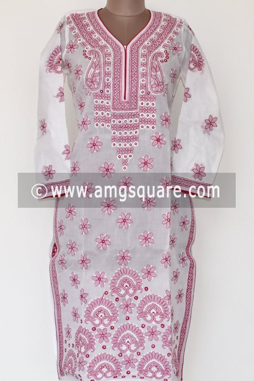 White Red Hand Embroidered Lucknowi Chikankari Long Kurti (Cotton) Bust-38 inch 17886