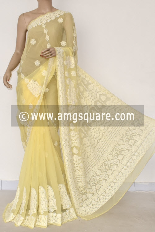 Cream Hand Embroidered Lucknowi Chikankari Saree (With Blouse - Georgette) 14479