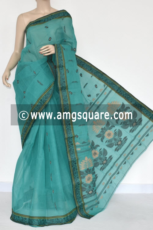 Sea Green Resham Border Handwoven Bengal Tant Cotton Saree (Without Blouse) 17385