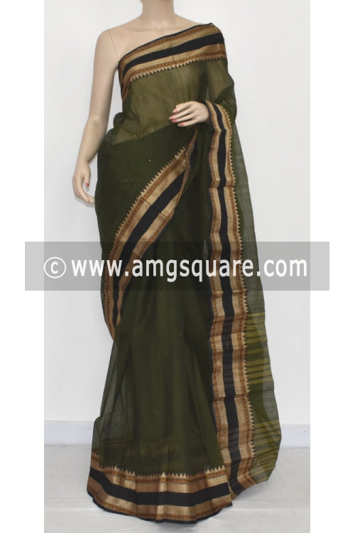 Bottle Green Handwoven Bengali Tant Cotton Saree (Without Blouse) 17058