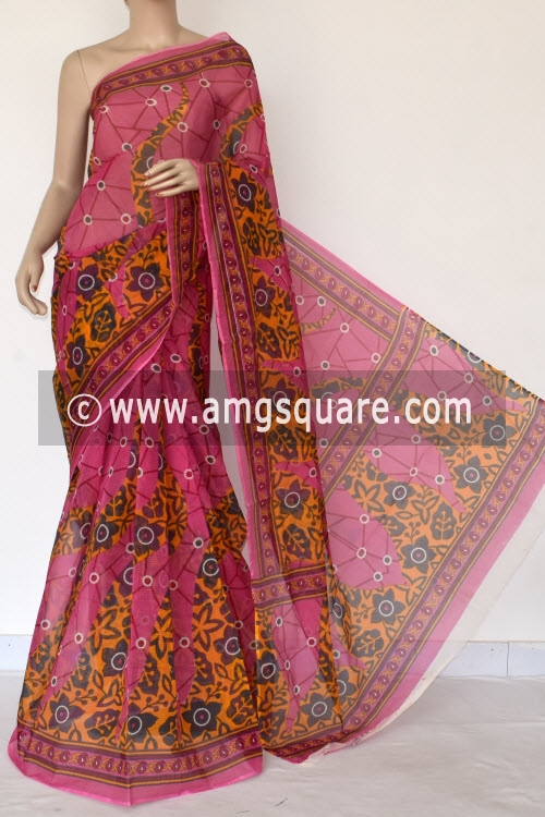 Pink Premium JP Kota Doria Printed Cotton Saree (without Blouse) 15381