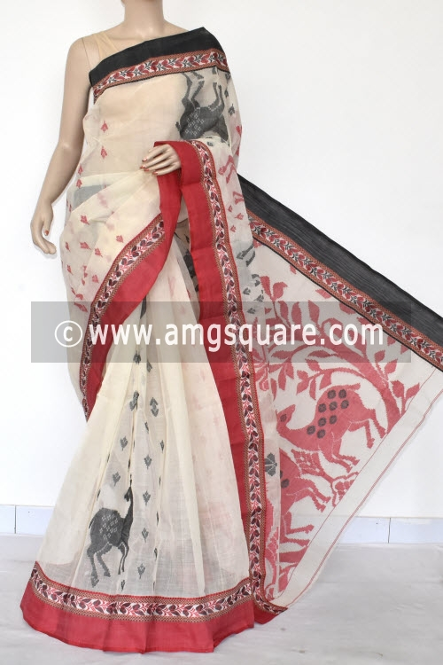Off White Designer Handwoven Bengal Tant Cotton Saree (Without Blouse) Ganga Yamuna Border 17097