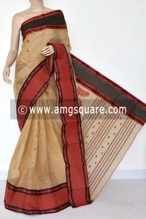 Fawn Handwoven Bengal Tant Cotton Saree (Without Blouse) Ganga Yamuna Border 14130