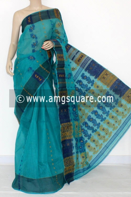 Pherozi Blue Handwoven Bengal Tant Cotton Saree (Without Blouse) 14163