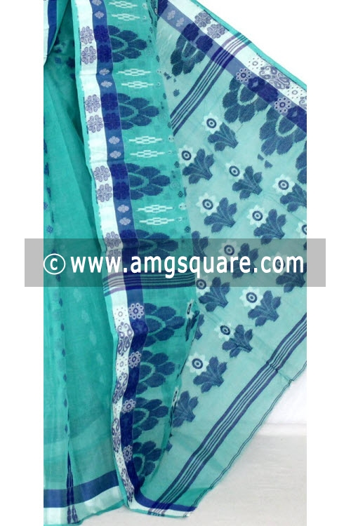 Sea Green Handwoven Bengali Tant Cotton Saree (Without Blouse) 14049