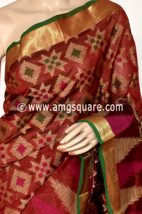 Maroon Handloom Banarasi Kora Saree (with Blouse) Allover Resham Weaving 16248