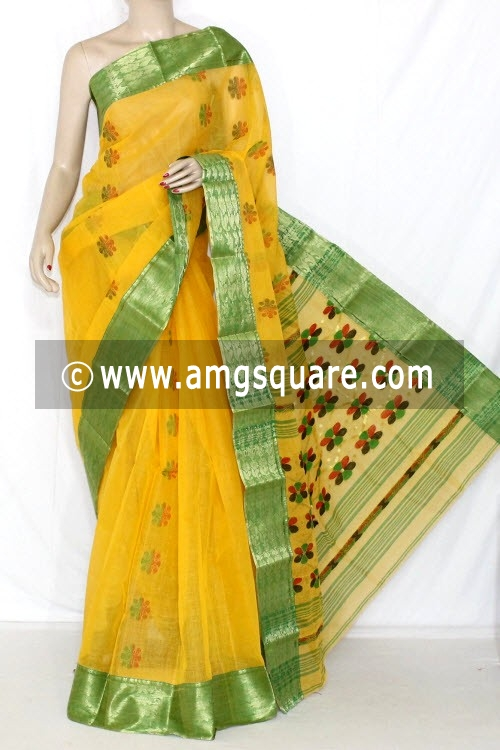Yellow Green Handwoven Bengal Tant Cotton Saree (Without Blouse) Zari Border 14107