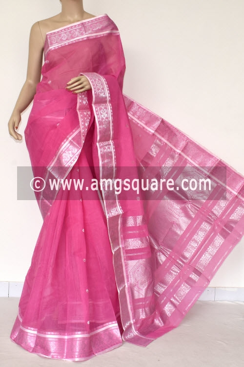 Pink Handwoven Bengal Tant Cotton Saree (Without Blouse) Silver Zari Border 17407