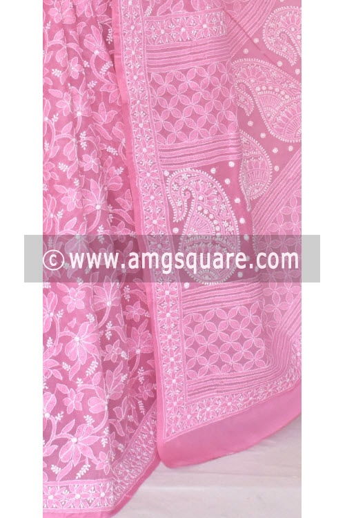 Onion Allover Hand Embroidered Lucknowi Chikankari Saree (With Blouse - Cotton) 14663