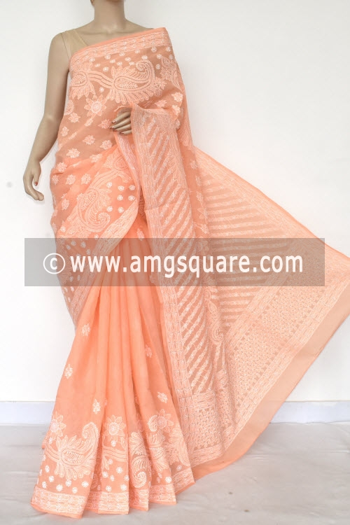 Light Peach Hand Embroidered Lucknowi Chikankari Saree (With Blouse - Cotton) Half Jaal 14770